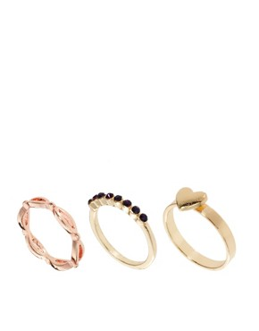 Image 1 ofASOS Multipack Heart Stone Rings