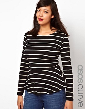 Image 1 ofASOS CURVE Exclusive Peplum Top In Stripe With Long Sleeves