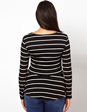 Image 2 ofASOS CURVE Exclusive Peplum Top In Stripe With Long Sleeves