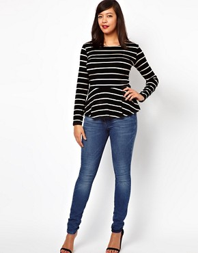 Image 4 ofASOS CURVE Exclusive Peplum Top In Stripe With Long Sleeves