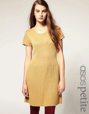 Image 1 ofASOS PETITE Metallic Knitted Dress With Dropped Waist