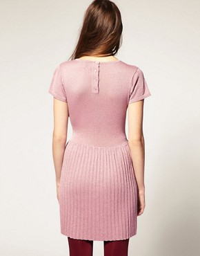 Image 2 ofASOS PETITE Metallic Knitted Dress With Dropped Waist