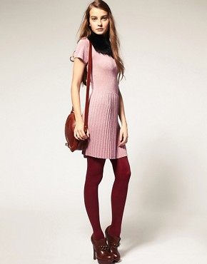 Image 4 ofASOS PETITE Metallic Knitted Dress With Dropped Waist