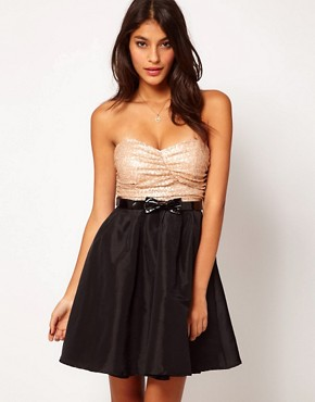 Image 1 ofRare Sequin Bandeau Prom Dress With Bow Belt