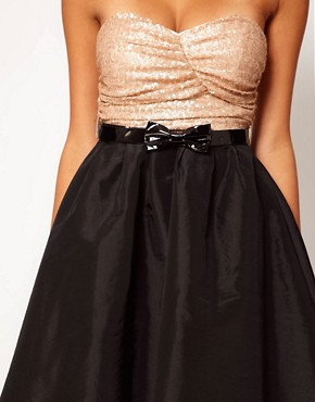 Image 3 ofRare Sequin Bandeau Prom Dress With Bow Belt
