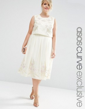 ASOS CURVE Midi Dress With Pretty Floral Embellishment