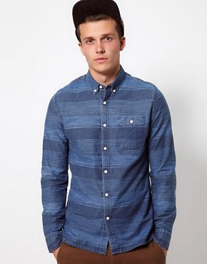 Image 1 ofASOS Denim Shirt With Printed Stripe