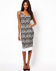 ASOS Bodycon Midi Dress in Neon Border Print