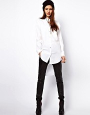Just Female Dress Shirt With Dipped Hem