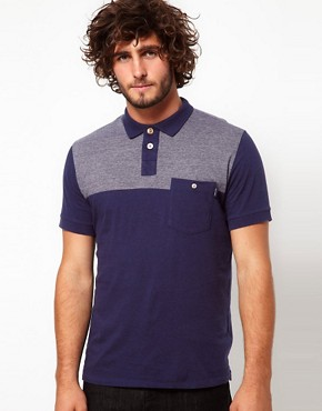 Image 1 ofPaul Smith Jeans Polo Shirt with Contrast Shoulders and Pocket