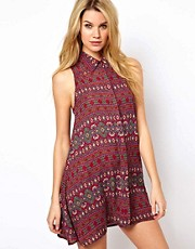 Glamorous Swing Shirt Dress in Aztec Print