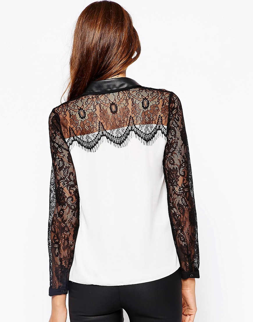 Image 2 of Michelle Keegan Loves Lipsy Shirt With Lace and PU Collar Detail