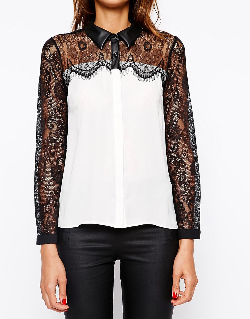 Image 3 of Michelle Keegan Loves Lipsy Shirt With Lace and PU Collar Detail