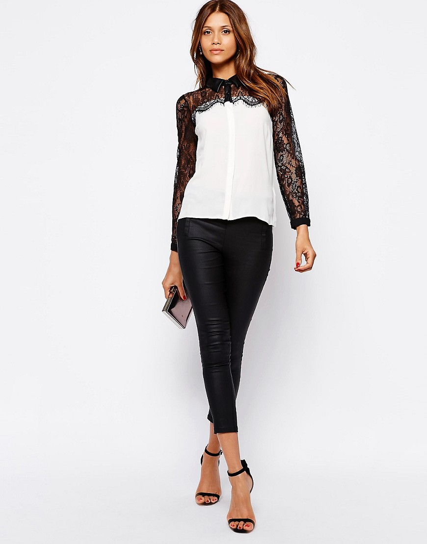 Image 4 of Michelle Keegan Loves Lipsy Shirt With Lace and PU Collar Detail