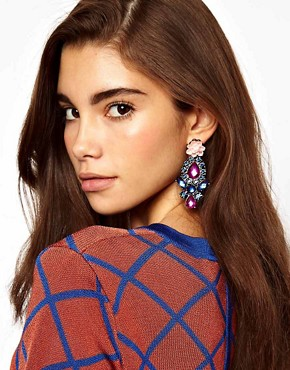 Image 2 ofASOS Flower Stone Drop Earrings