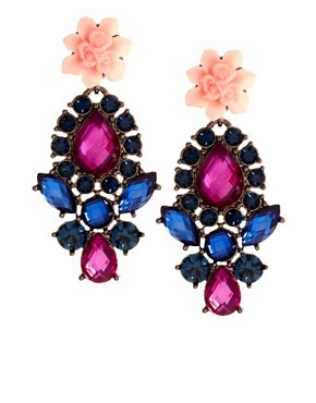 Image 1 ofASOS Flower Stone Drop Earrings