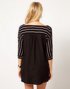 Image 2 ofOasis Stripe Mix Dip Hem T-Shirt