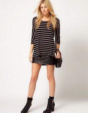 Image 4 ofOasis Stripe Mix Dip Hem T-Shirt