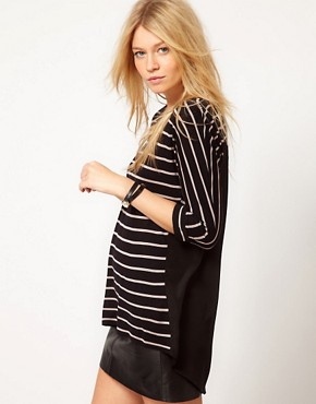 Image 1 ofOasis Stripe Mix Dip Hem T-Shirt