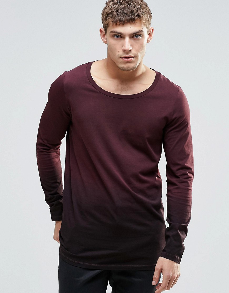 ASOS Longline Long Sleeve T-Shirt With Dip Dye - Black