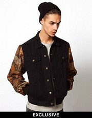 Reclaimed Vintage Denim Jacket with Safari Paneled Arms