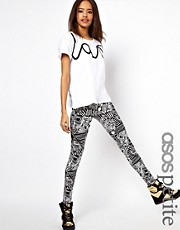 ASOS PETITE Exclusive Leggings in Mono Print