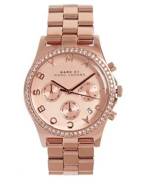 Image 1 ofMarc By Marc Jacobs Rose Gold Chronograph Bracelet Watch