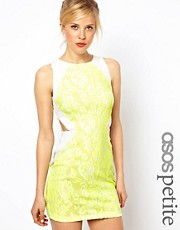 ASOS PETITE Exclusive Bodycon Dress In Neon Lace With Cut Out Sides