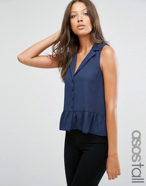 ASOS TALL Sleeveless Ruffle Hem Blouse