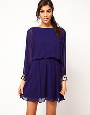 ASOS Skater Dress with Angel Sleeve &amp; Jewelled Cuff