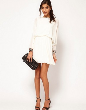 Image 4 of ASOS Skater Dress with Angel Sleeve & Jewelled Cuff
