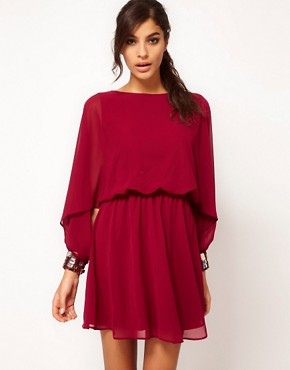 Image 1 ofASOS Skater Dress with Angel Sleeve &amp; Jewelled Cuff