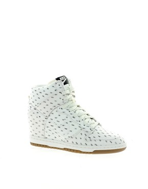 Image 1 ofNike Dunk Sky High Top White Wedge Trainers