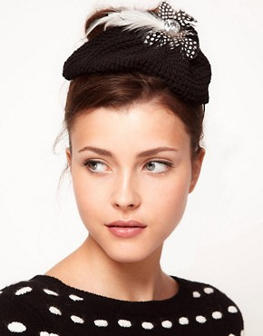 Image 1 ofJohnny Loves Rosie Woolen Feather Beret Hairband