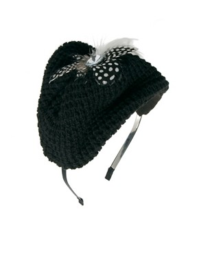 Image 2 ofJohnny Loves Rosie Woolen Feather Beret Hairband