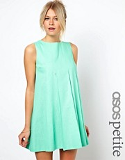 ASOS PETITE Exclusive Linen Swing Dress With Pleat Front Detail