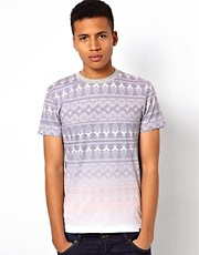 Bellfield Dip Dye Aztec Print T-Shirt