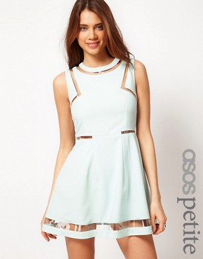 Image 1 of ASOS PETITE Exclusive Skater Dress With Plastic Panels