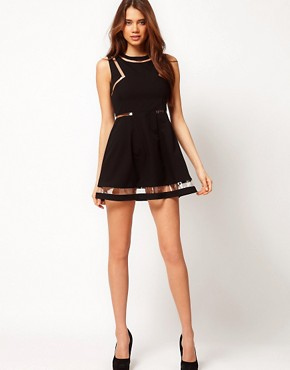 Image 4 of ASOS PETITE Exclusive Skater Dress With Plastic Panels