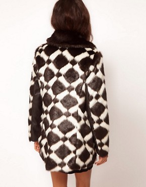 Image 2 ofASOS Longline Chevron Fur Coat