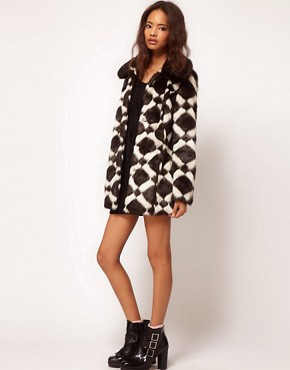 Image 4 ofASOS Longline Chevron Fur Coat