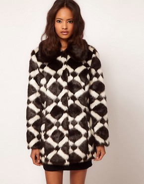 Image 1 ofASOS Longline Chevron Fur Coat