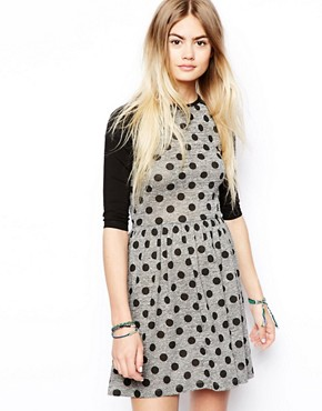 ASOS Skater Dress With Spot And Raglan Sleeve