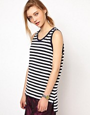 White Tent Hiro Tank in Japanese Striped Cotton