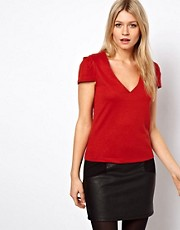 ASOS Ponte Top with V Neck and Pleated Sleeves