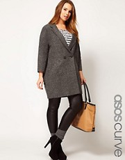 ASOS CURVE Textured Coat With Back Detail