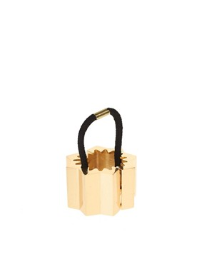 Image 2 ofASOS Gold Corrugated Hinged Ponytailer