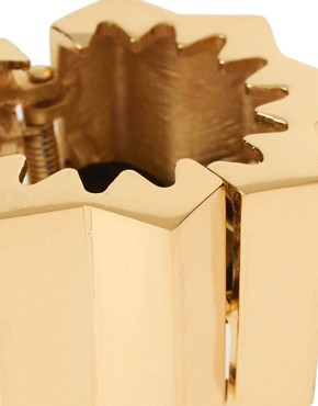 Image 3 ofASOS Gold Corrugated Hinged Ponytailer