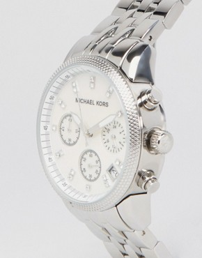 Image 2 ofMichael Kors Silver Chronograph Bracelet Watch