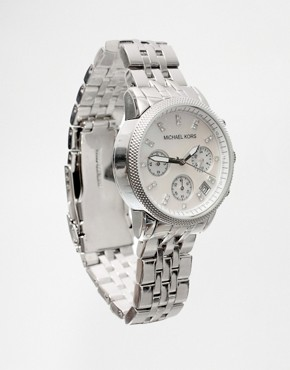 Image 4 ofMichael Kors Silver Chronograph Bracelet Watch